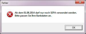 Fehlermeldung SEPA in TopKontor
