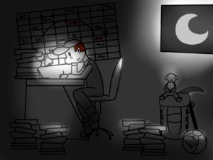 Handwerker muss nachts Büroarbeiten erledigen